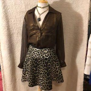 NNWT KAREN KANE Leopard Print Knit  A Line Skirt